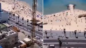 El impactante momento en que cientos de personas evacúan las playas de Tel Aviv por los bombardeos del grupo terrorista Hamas