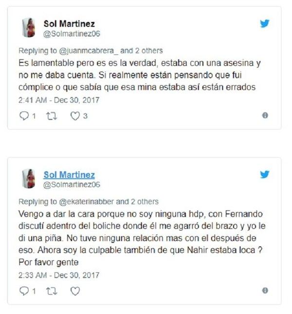 Parte de las conversaciones de Sol Martínez en las redes.