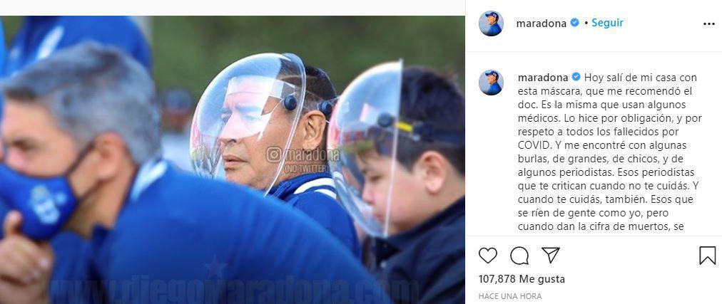 publicación de Maradona instagram