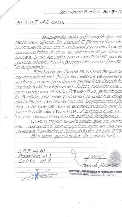 Presentación manuscrita de Jaime.