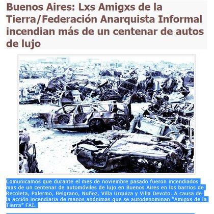 Comunicado de la Federación Anarquista Informal en el sitio Contrainfo.