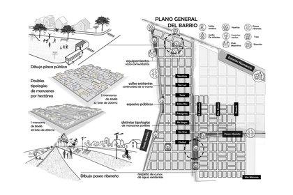 Parte del proyecto de urbanización barrial que realizó el FOL junto a abogados que apoyan la toma. Tienen previsto la construcción de un jardín de infantes, una sala de primeros auxilios y un club deportivo