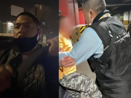 Los guardias de seguridad sacaron a la fuerza al menor Foto: (Captura de pantalla Twitter @eduardochino94)