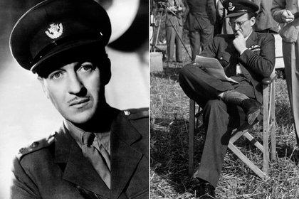 """El británico David Niven como soldado y durante una pausa de la filmación de """"Los cañones de Navarone"""""""