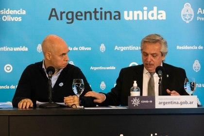 Horacio Rodríguez Larreta y Alberto Fernández (Foto: Franco Fafasuli)