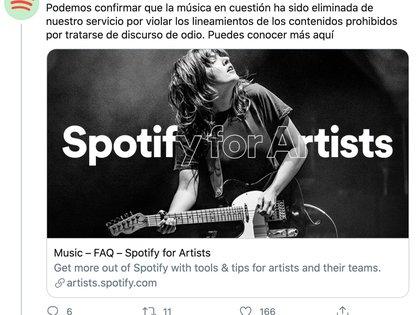 Spotify quitó el material de Escutia (Foto: Captura de pantalla)