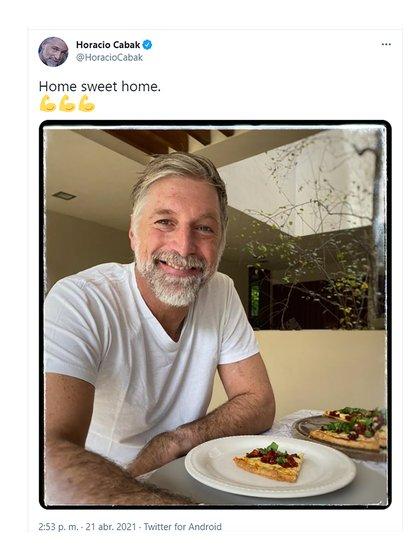 El posteo de Horacio Cabak desde su casa (Twitter: @HoracioCabak)