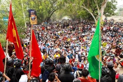 Protesta en Monywa (AFP)