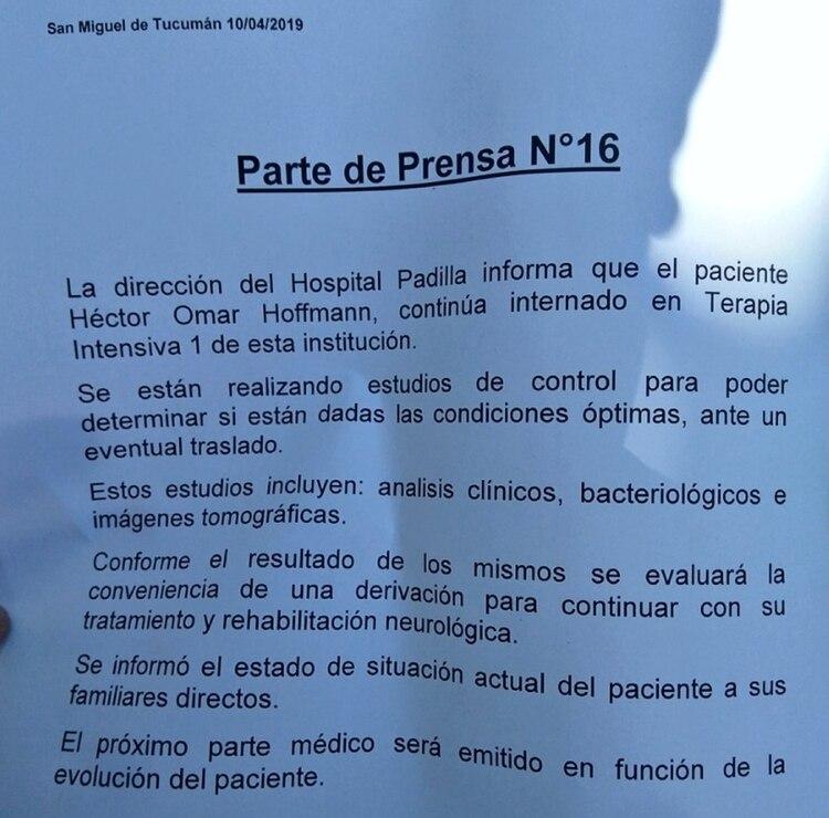 El parte médico que difundió el hospital este miércoles 10 de abril