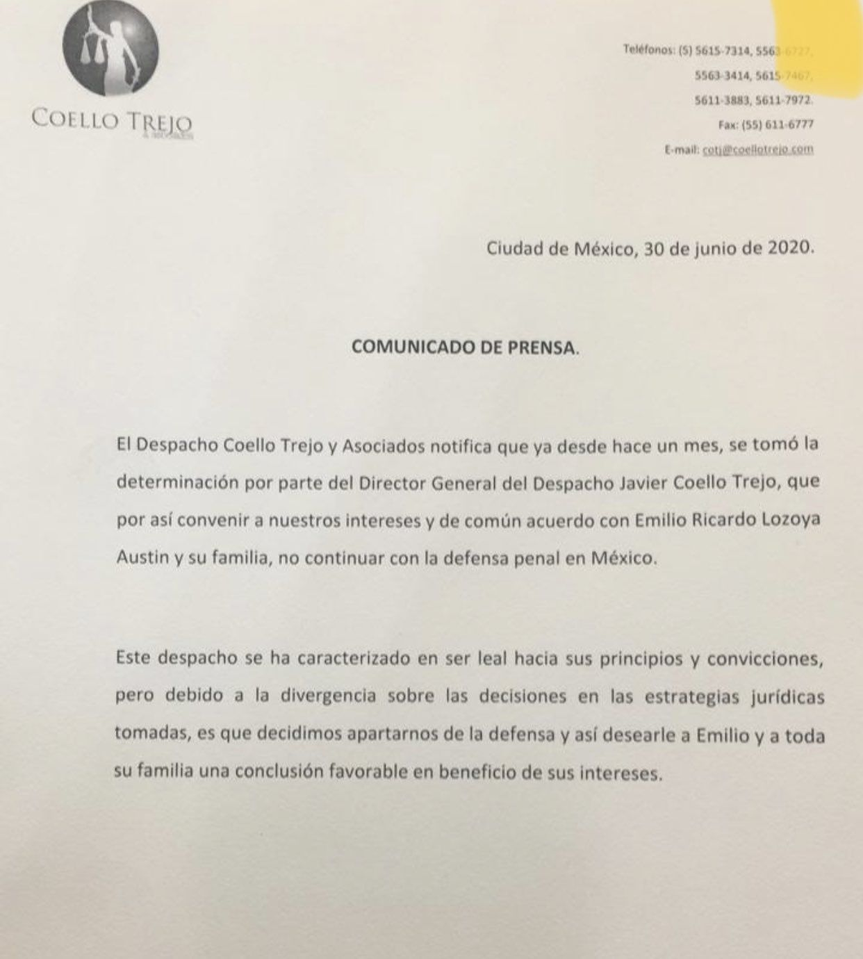 Así anunció Coello Trejo y Asociados su desvinculación de Emlio Lozoya y su familia. (Foto: Twitter)