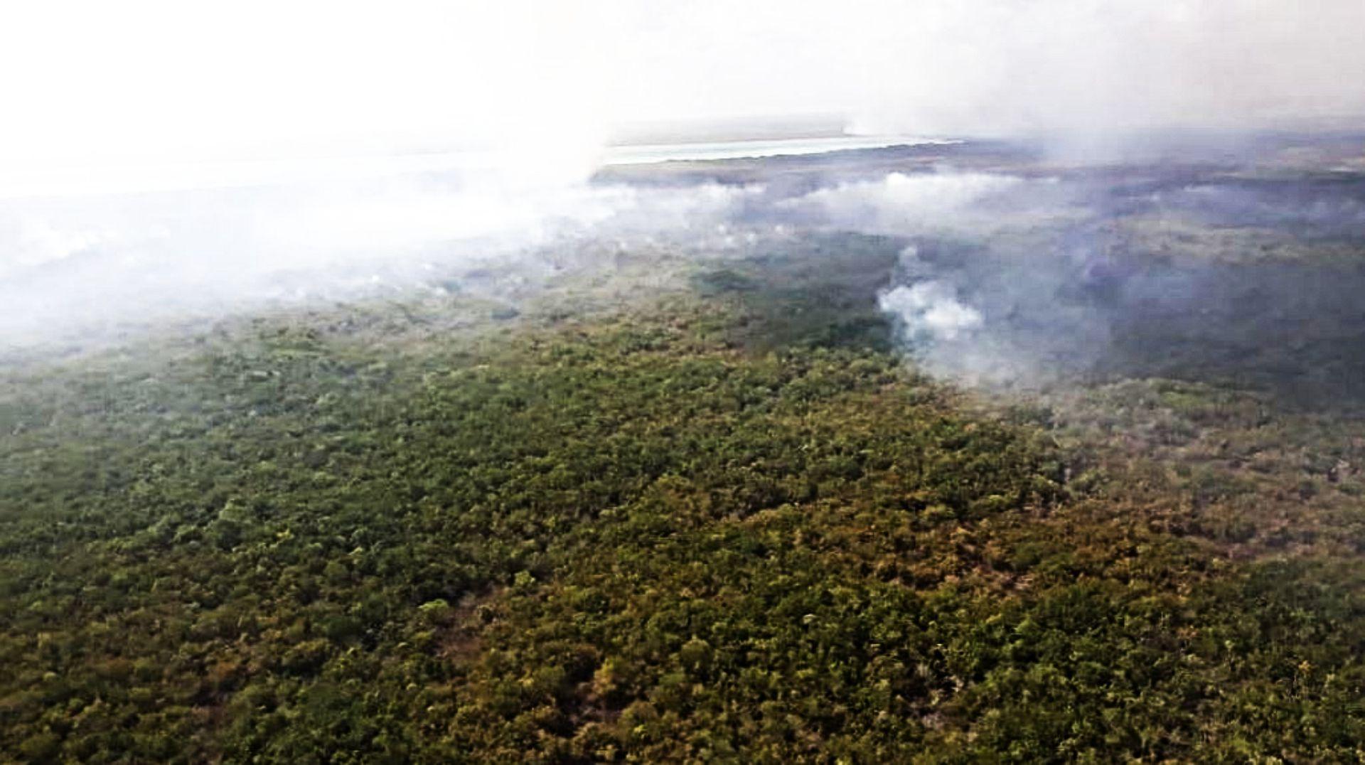 El incendio llegará a la zona de Muyil, cerca de Tulum (Foto: @CONAFOR)