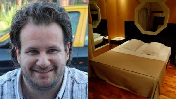 A la izquierda de la imagen Gastón Favale, presunto cómplice de Camus y acusado de la violación. A la derecha, una de las habitaciones del hotel â??Los Liriosâ?� donde habría ocurrido el ataque sexual.