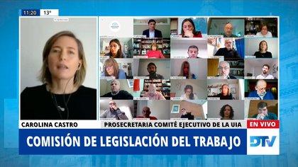 Carolina Castro, de la UIA, habló sobre el teletrabajo ante la Comisión de Legislación del Trabajo de Diputados