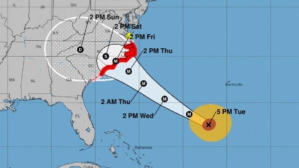 El reporte del NHC de este martes a las 5 pm sobre el huracán Florence