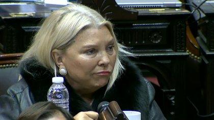 Elisa Carrió, durante la votación de la ley del aborto en Diputados