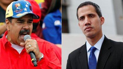 El dictador venezolano Nicolás Maduro y el presidente interino Juan Guaidó