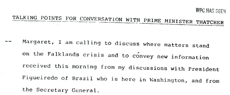 Encabezado de la agenda de Reagan para su diálogo con Thatcher