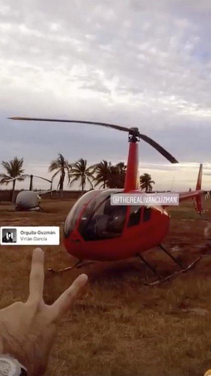 Uno de los supuestos helicópteros de Iván Guzmán (Foto: Captura de pantalla)