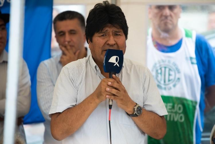 Evo Morales brindó un breve mensaje