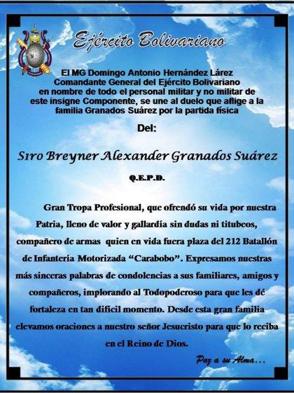 El mensaje de duelo del Ejército ante la muerte del S1 Breyner Alexander Franados Suárez