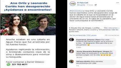 Pareja de turistas desaparecidos por la emergencia ambiental en Buenaventura / (Facebook: El País Cali).