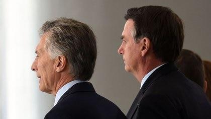 Macri y Bolsonaro, juntos este martes en Brasilia (AFP)