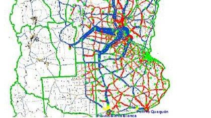 Mapa de las principales rutas argentinas de transporte de carga
