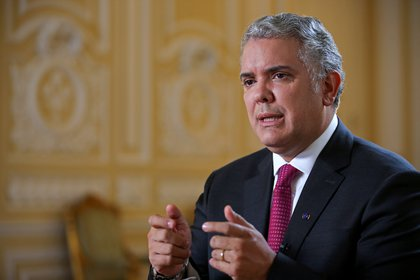 FILE PHOTO: Colombia's President Ivan Duque speaks during an interview with Reuters in Bogota, Colombia, March 12, 2021. REUTERS/Luisa Gonzalez/File Photo