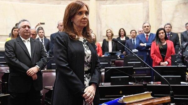 Cristina Kirchner durante la jura en el Senado