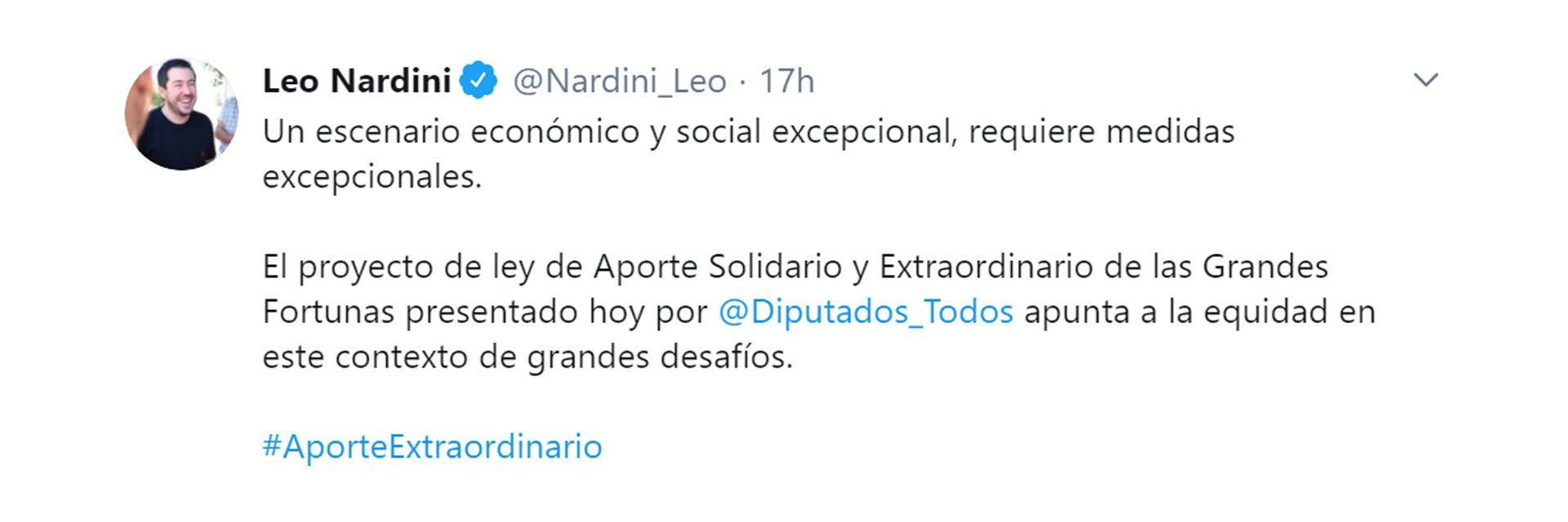 tuits intendentes respaldan impuesto a la riqueza leo nardini