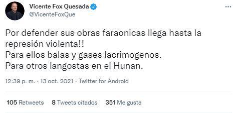 Vicente Fox condenó la situación Dos Bocas