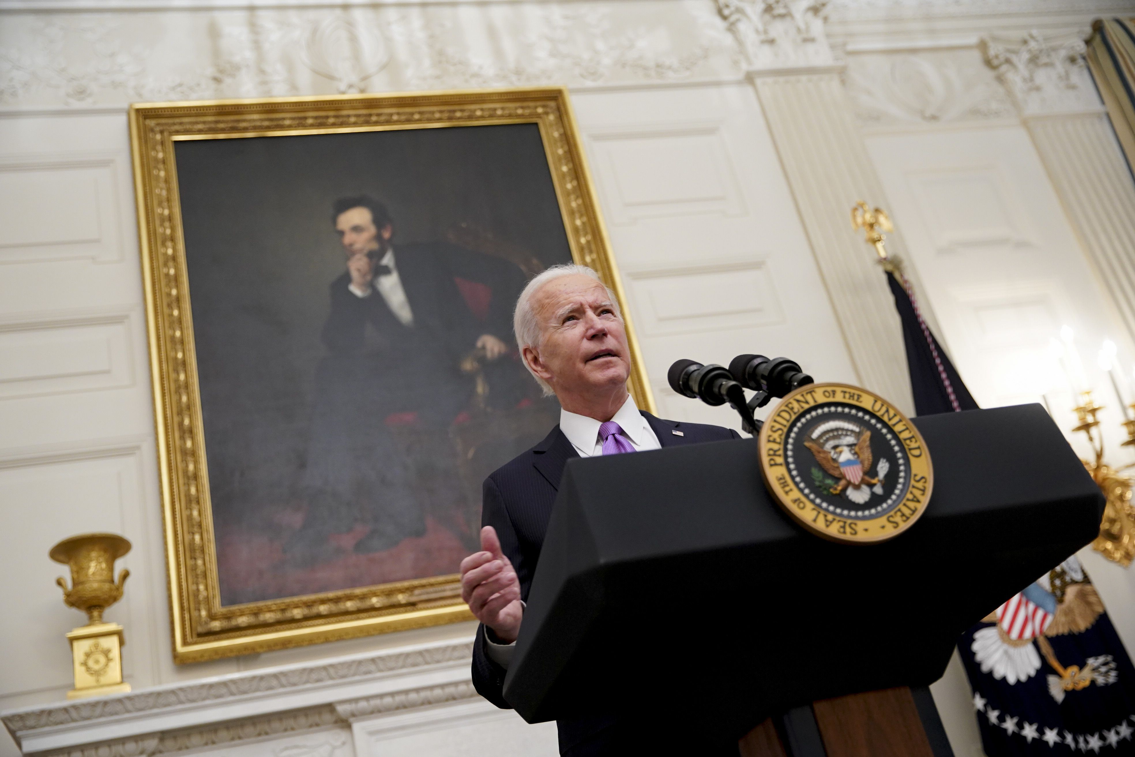 Joe Biden speaks during an event on his administration's Covid-19 response in the State Dining Room of the White House in Washington, D.C. on Jan. 21.
