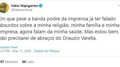 Fabio Wajngarten y su mensaje en Twitter sobre el coronavirus (Twitter)