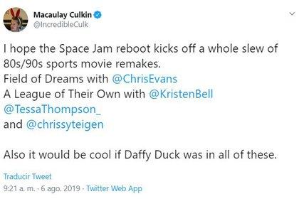 """El anuncio del remake de """"Home Alone"""" se dio después de que el propio Macaulay Culkin celebró el reinicio de Space Jam (Foto: captura de pantalla)"""
