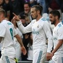 Soccer Football - La Liga Santander - Real Madrid vs Celta Vigo - Santiago Bernabeu, Madrid, Spain - May 12, 2018 Real Madrid's Gareth Bale celebrates scoring their first goal with Toni Kroos (L) and Isco (R) REUTERS/Susana Vera