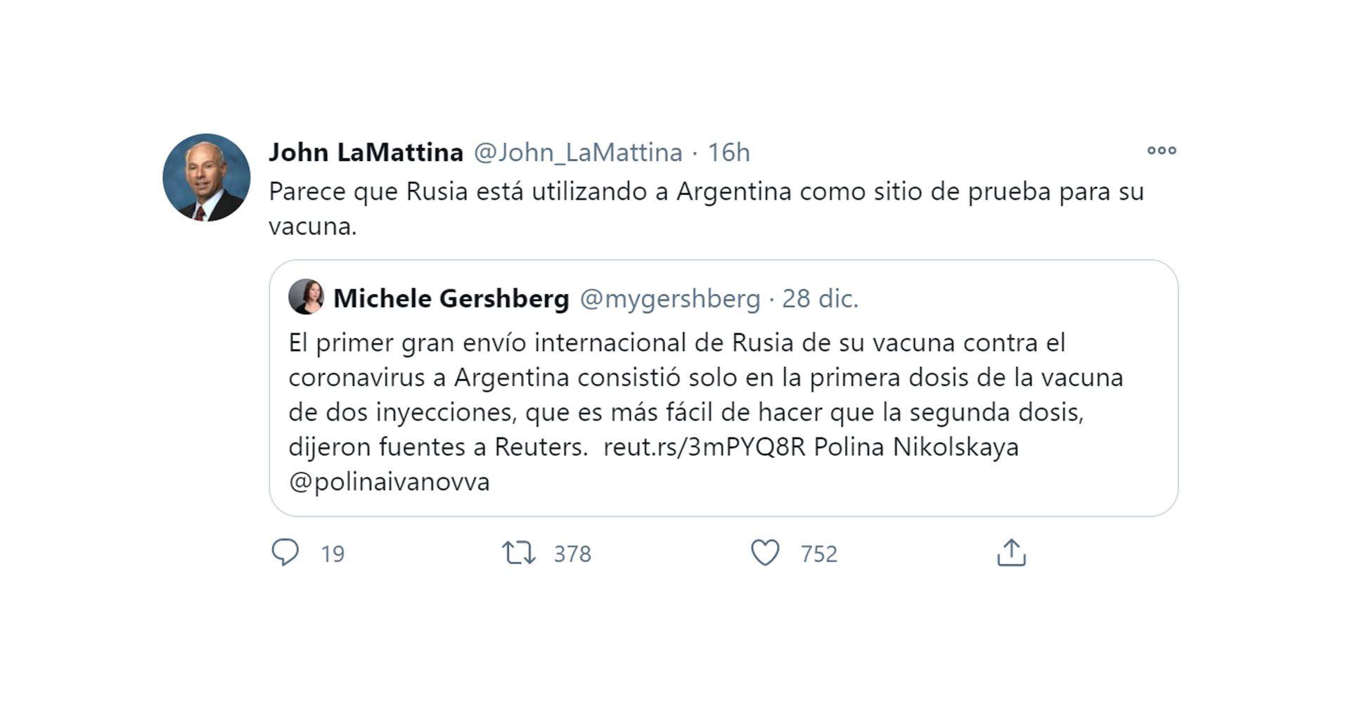 john la mattina tuit vacuna sputnik 5 argentina traducido