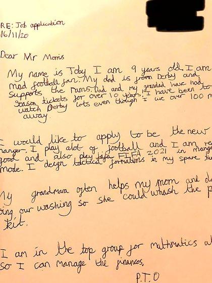 La carta que envió Toby