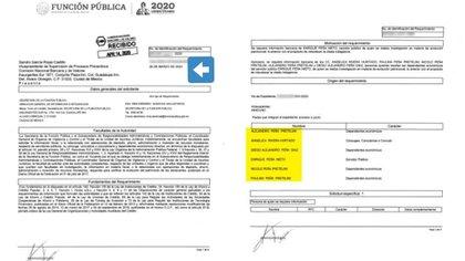 La Secretaría de la Función Pública envió los documentos desde el 26 de marzo y fueron recibidos el 14 de abril. (Foto: Univision)