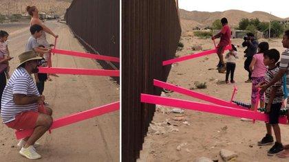 El arquitecto Ronald Rael instaló sube y bajas en la frontera entre México y Estados Unidos para mostrar el balance natural que hay entre ambas naciones (Foto: Facebook Ronald Rael)