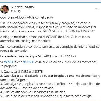 Gilberto Lozano desestimó el diagnóstico positivo de AMLO respecto al COVID-19 (Foto: Facebook / Gilberto Lozano)