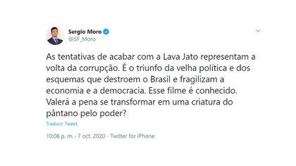El mensaje de Sergio Moro (@SF_Moro)