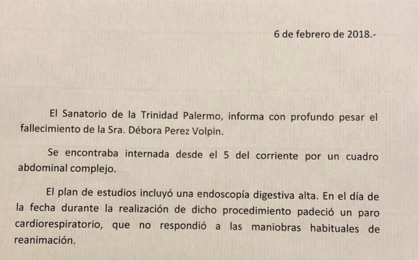 El comunicado del Sanatorio de la Trinidad.