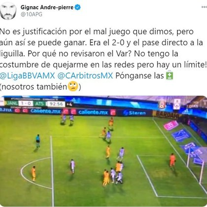 André-Pierre Gignac comentó el gol que anuló el pito de Jorge Isaac Roja (Foto: Twitter / @ 10APG)