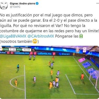André-Pierre Gignac comentó sobre el gol que le anuló el silbante Jorge Isaac Roja (Foto: Twitter/ @10APG)