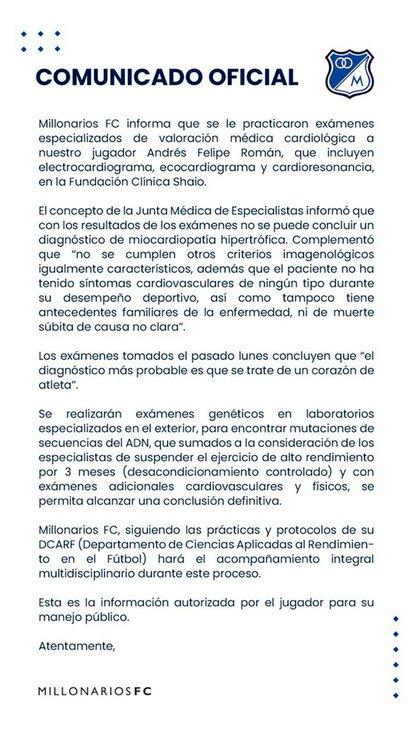 El comunicado de Millonarios FC sobre la salud del futbolista que pretende Boca, Felipe Román