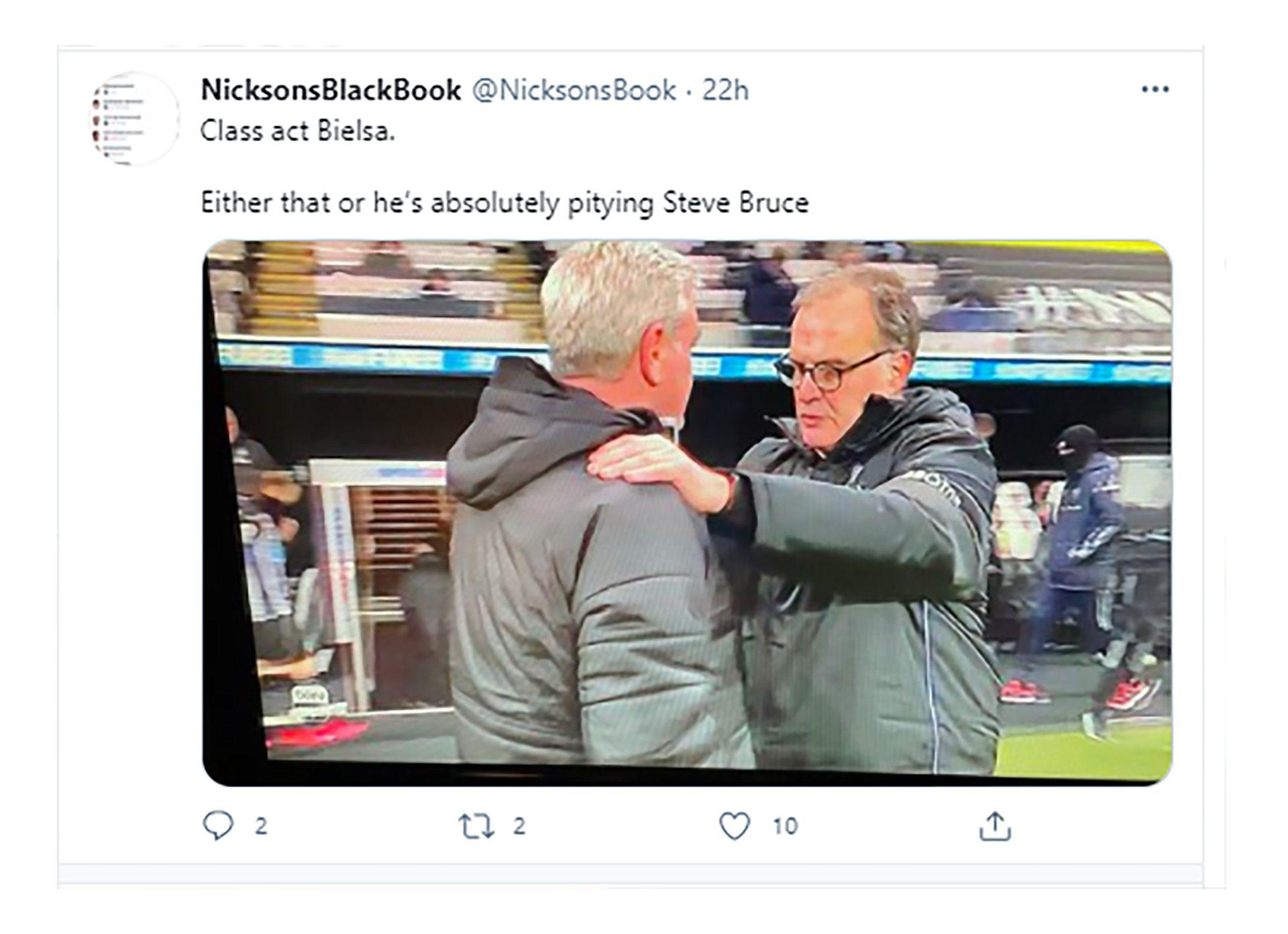 Bielsa consoló a Bruce tweets