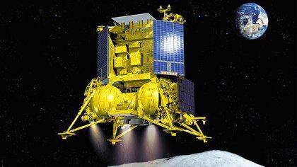 Ilustración de cómo será el descenso de Luna 25 en nuestro satélite natural