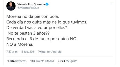 Fox Quesada asked that Morena not be given a vote (Photo: Twitter / @ VicenteFoxQue)