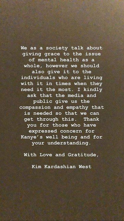 El mensaje de Kim Kardashian sobre Kanye West