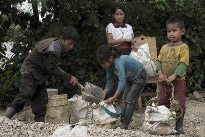 Niños de entre 5 y 14 años cargan grava mientras transportan cargas de materiales de construcción para ayudar a sus familias que han recibido ayuda del gobierno para construir viviendas, en el distrito de Aldama del estado de Chiapas, México, el lunes 24 de agosto de 2020. (Foto AP / Isabel Mateos)